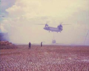 Hauling out rice cache from Uncle Bens . Lt's York and Hatton in foreground