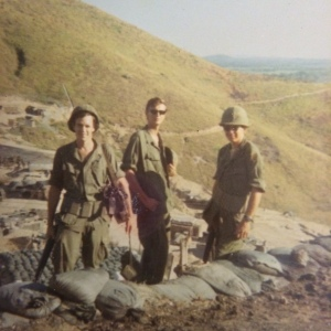 Craig, me and Lt York getting ready to jump TOC from LZ Liz on Chinooks, North OP in background