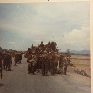 Unloading on Red Ball, the only time we ever rode in trucks, after standown on LZ Bronco