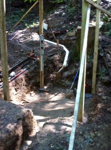 Penstock coming into powerhouse hole.  6' x 6' footprint
