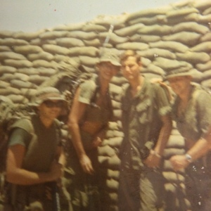 Jim, me, Herb and Dennis leaving LZ LIz, except short timer Herb, his first day of a well deserved rear job.