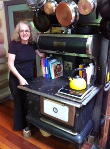 Jenny w/ induction stove on wood stove